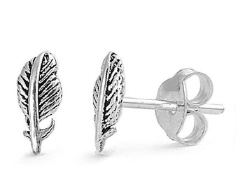 Feather Stud Earrings Sterling Silver - 8mm