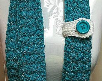 Skinny Infinity Scarf, Skinny Scarf, Button Infinity Scarf, Summer Scarf, Turquoise Scarf, Button Scarf, Narrow Scarf, Skinny Crochet Scarf