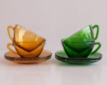 4  Cups and Sausers Vereco France | Vintage Vereco Tea / Coffee cups | Amber and Green Glass Cups and Saucers | French 70's Cups and saucers
