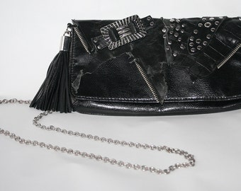 Handmade black handbag Ibiza/GOA/gothic style