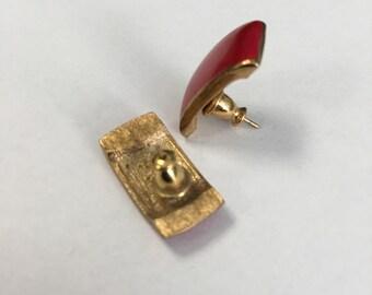 Vintage RED Earrings Pierced