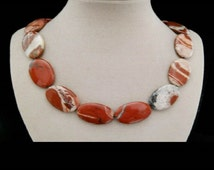 Red Jasper, stones, necklace, necklace, necklace, silver plated clasp