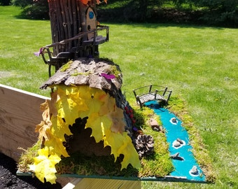 Enchanted River Tower (Forest Dwellings, Fairy House, Fairy Garden,  Gnome Home) OOAK