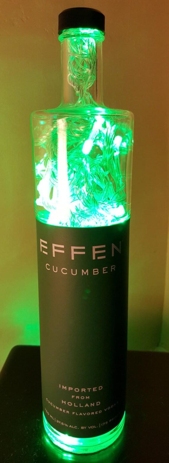 Handmade Green LED 8-Mode Effen Cucumber Vodka Liquor Bottle Lamp