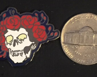 Grateful Dead Skull with Roses Hat Pin