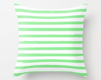 Green Striped Pillow Cover, Kids Room Decor, Preppy Pillows, Boys Room Decor, Kids Decorative Pillows, Girls Bedroom , Apartment Decor