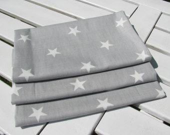 Cotton Tea Towel Grey with white Star printing
