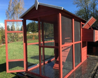 Farmhouse CHICKEN Coop DIY Houses up to 8 Hens