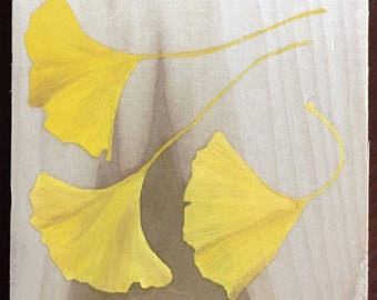 Ginkgo leaves oil painted on wood