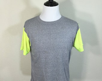 80's heather gray two layered neon color sleeve t-shirt 50/50 blend