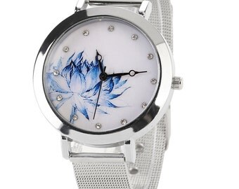 Blue lotus watch, stainless steel watch