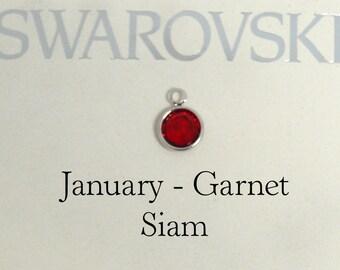 Swarovski birthstone charm, January birthstone charm, Siam Birthstone charm, Garnet Birthstone Charm