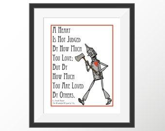 Wonderful Wizard of Oz Tin Man L. Frank Baum Color Decorative Children's Book Quote Art Print