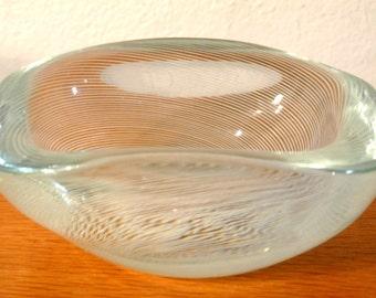 Swedish Vicke Lindtrand Kosta spiral lines glass bowl