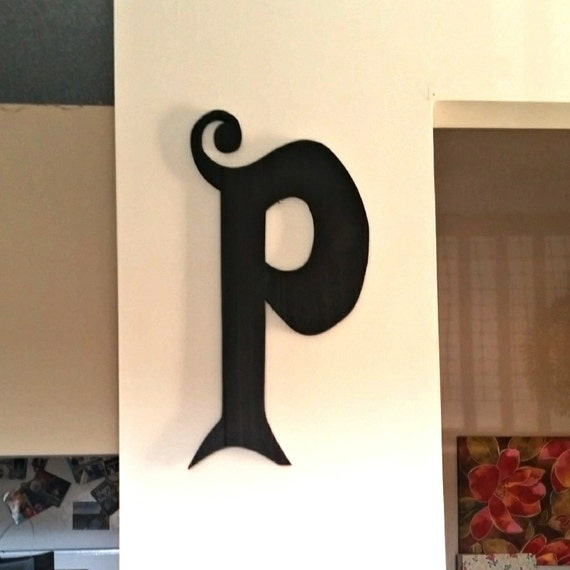 Large letter p wood sign wood letter sign custom wood sign for Large wooden letter p