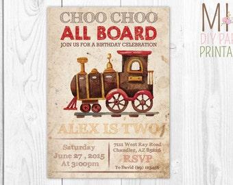 Train Party Invitation Card,,Choo Choo Train Party invitation,Chugga Chugga,Train Invitation, Train Party, Choo Choo Train Invitation