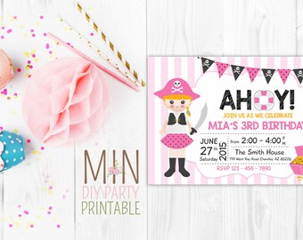 Pirate Girl Birthday Invitation, Pirate Girl Birthday, Pirate Girl Invitation, Pink Pirate Girl Birthday Invitation ,  Pirate Girl Party