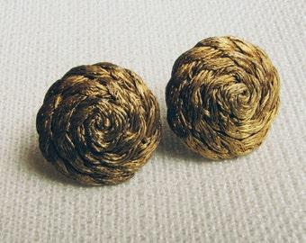 Vintage Basketweave Brass Wire Earrings