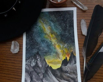Galaxy mountains original watercolor painting