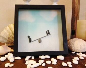 "Pebble Art  "" Seesaw ""  Beach Decor Stone Rock People Baby Shower Gift"