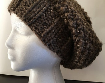Slouchy Hat-Brown with Ivory Flecks