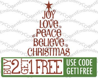Stylized Christmas Tree Text Embroidery Design - Joy, Love,Believe, Christmas