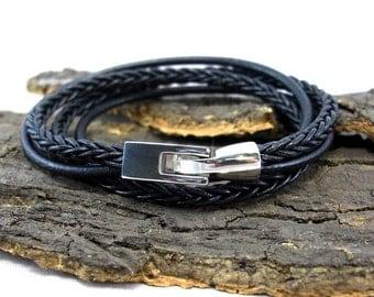 Leather Bracelet braided black for men