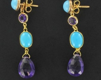 Amethysts turquoise earrings yellow gold 18K modern