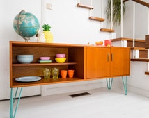 Stunning G Plan E Gomme Mid Century Danish Influence Teak Sideboard Media Console Cabinet Record Vinyl storage on blue hairpin legs