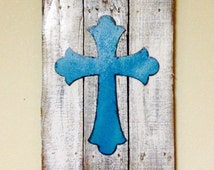 Turquoise Rustic Cross, Rustic Cross, Distressed Cross, Rustic Home Decor, Distressed Rustic Sign, Boho Cross, Boho Sign