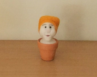Needle Felted Gnome in Flowerpot