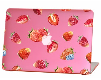 Macbook Air 13 inches Rubberized Hard Case for model A1369 & A1466, strawberry Design with Pink Bottom Case, Come with Keyboard Cover