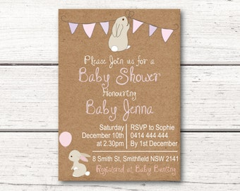 Baby Shower Invitation - Rustic Bunny Rabbit Balloon - Pink and Purple - Kraft Paper - Printable Download/File DESIGN 002
