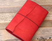 Leather Traveler's Notebook - Apple Red - Leather Quill Shoppe - Leather Journal - Bullet Journal - Valentine's Day Gift Idea - Red Leather