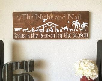 Jesus is the Reason for the Season Wood Sign, Christmas Sign, Holiday Wood Sign, Rustic Holiday Decor, Christmas Decor