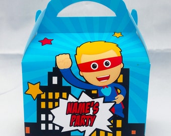 Comic Book Superhero Personalised Children's Party Box Gift Bag Favour
