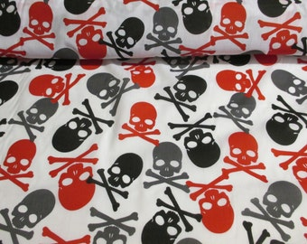 White & Red,Black, Grey Skull and Crossbones Printed Polycotton craft fabric. Price Per Metre