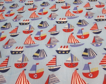 Blue with Red  Boats, Yachts, Sailing Printed Polycotton Craft Fabric. Price Per Metre.
