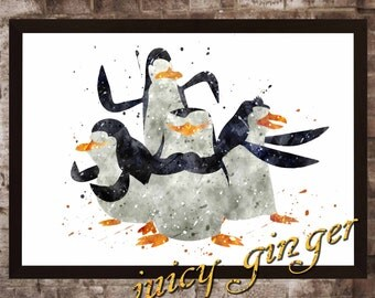 The Penguins  art print , Madagascar watercolor poster, Art Print, instant download, Watercolor Print, poster, Home Decor