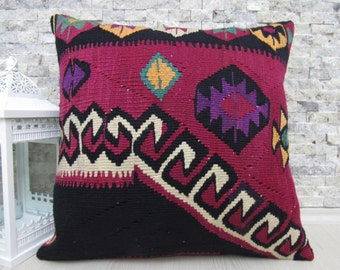 very rare extraordinary kilim pillow  20 x 20 turkish pillow handmade pillow vegetable dyed organic wool decorative pillows boho pillow