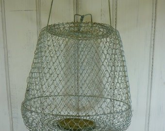 Vintage French wire fishing basket, fruit basket, hanging basket.