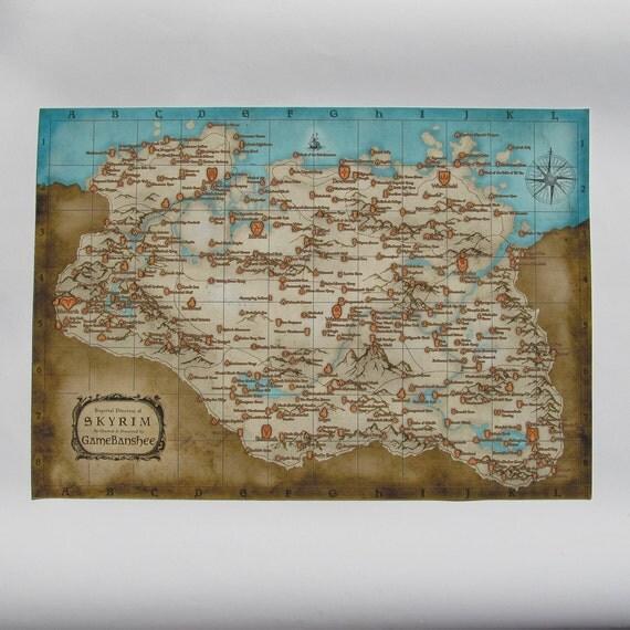 Skyrim Map Cotton Canvas Print Vintage Map Style Digital