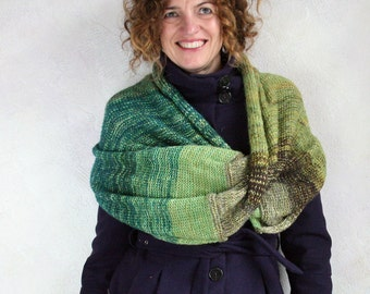 Large shawl wrap / Large blanket scarf / Versatile shawl scarf / Mohair travel wrap / Knit capelet - Rainforest