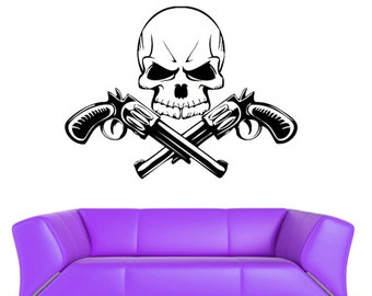 rvz403 Wall Vinyl Sticker Bedroom Decal Decal Skull with Guns