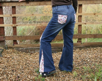 Upcycled jeans, floral patched and flared