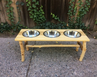 Wooden Triple Dog Bowl Stand - Poplar & Maple