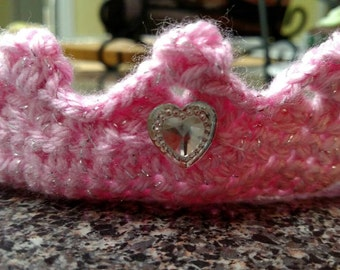 Pink-Crocheted Princess Crown