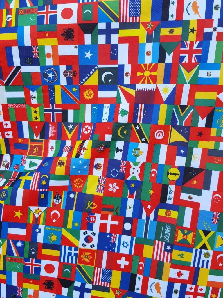 International Flag Print On Spandex Fabric