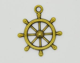 Bronze Boat Wheel Charm Necklace, Boat Wheel Pendant, Boat Wheel Charm Pendant