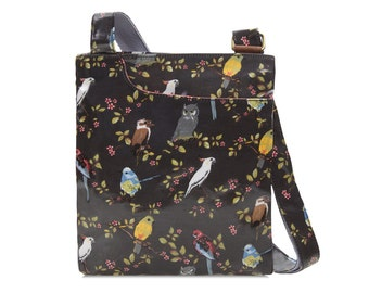 SALE! Ladies Oilcloth Pocket Crossbody purse- Australia bird print - Cockatoo-  Laminated coated cotton - Womens shoulder bag handbag